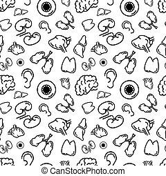 Black outline human internal organs, seamless pattern -...