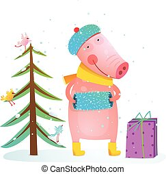 Childish cheerful little pig in winter warm clothes with fur tree and birds