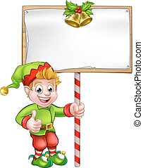 Christmas Sign Santa Helper Elf - A cute cartoon Christmas...