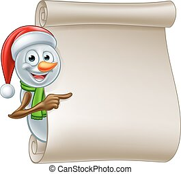 Snowman Christmas Scroll - A cute cartoon Christmas snowman...