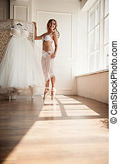 Beautiful young ballerina in pointe - pretty young ballerina...
