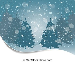 Holiday card. Silhouettes of fur-trees on a background of snow. Winter landscape. illustration