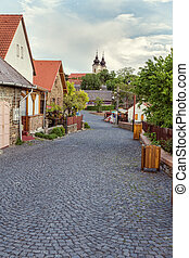 Typical traditional street in the village Tihany, near from...