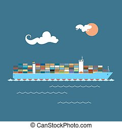 Cargo Container Ship at Sea , Industrial Marine Vessel with...