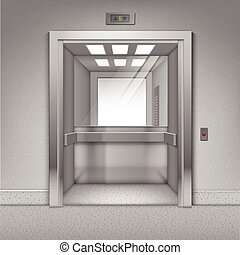 Vector Realistic Open Chrome Metal Office Building Elevator...