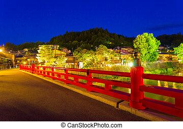 Takayama Naka-Bashi Bridge River Lighted Night