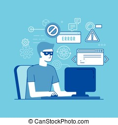 Hacker at the computer - Vector illustration in modern flat...