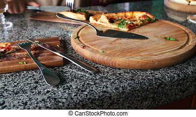 large slice of delicious hot fresh pizza - A large piece of...