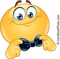 Emoticon with bow tie - Emoticon correcting or straightening...