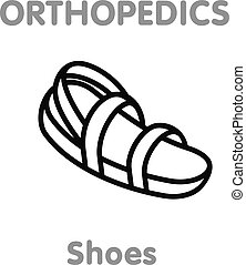 Vector icon orthopedic shoes - Vector line icon orthopedic...