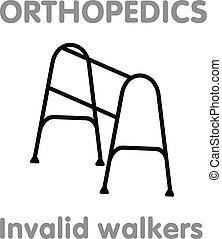 Vector line icon orthopedic walkers. Medical equipment ,...