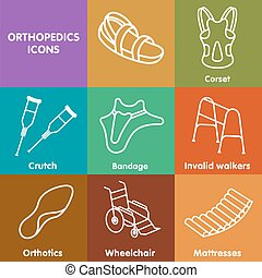 Vector set line icon orthopedic insole. Medical equipment ,...