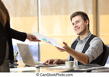 Businessman working with a teamwork at office -...