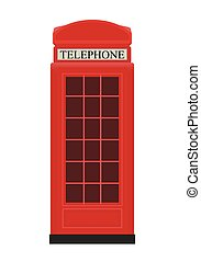 Red Telephone Box Icon Vector Illustration