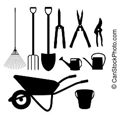 Garden Tools, Instruments Flat Icon Collection Set. Shovel,...