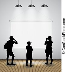 Silhouette of people in Background with Lighting Lamp and Frame look at the Empty Space for Your Text, Object or advertisement. Vector Illustration.