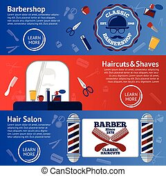 Vector set of Barber banners with grooming accessories - comb, razor, scissor, grease, poles etc