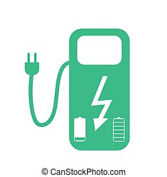 Concept Fuel Station for Electric cars on batteries. Vector...