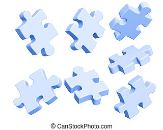 Puzzle - Parts of a puzzle. Objects over white