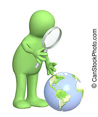 Puppet with a magnifier and Earth. Over white