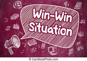 Win-Win Situation - Doodle Illustration on Red Chalkboard.