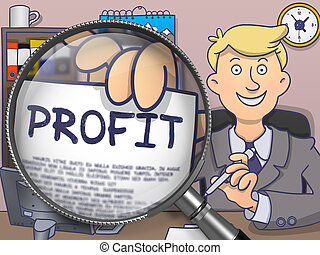 Profit through Magnifying Glass. Doodle Style. - Businessman...