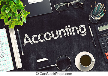 Accounting Concept on Black Chalkboard. 3D Rendering. -...