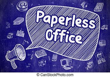 Paperless Office - Cartoon Illustration on Blue Chalkboard.