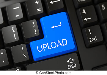 Upload CloseUp of Blue Keyboard Keypad. 3D. - A Keyboard...