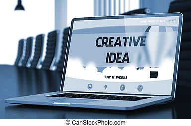 Creative Idea - on Laptop Screen. Closeup. 3D.