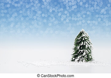 Christmas tree with lights snow winter background.