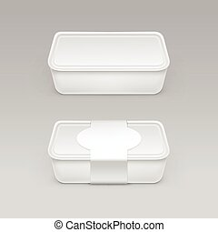 Vector White Blank Food Plastic Box Container for...