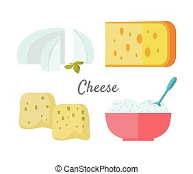Assortment of Cheese Isolated on White Background -...