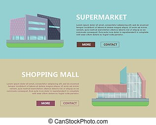 Shopping Mall Web Templates in Flat Design. - Supermarket...