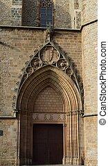 Templos religiosos - Detalle de puerta iglesia de Sarriá...