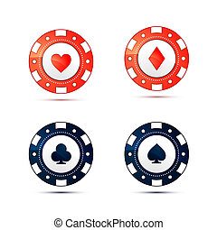Casino chips with card suits symbols on white - Casino chips...