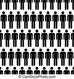 Crowd of black simple men icons, seamless pattern - Crowd of...