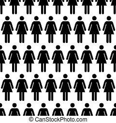 Crowd of black simple women icons on white, seamless pattern...
