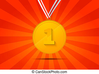 Golden medal for first place on red background