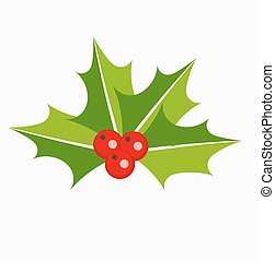 Holly berries icon - Holly berries Christmas plant symbol or...