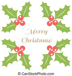 Christmas border holly berries background. Vector...