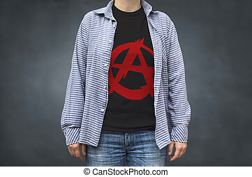 Anarchy symbol print on t-shirt, political message....