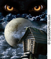 Full moon - Dark series - full moon. Horror in night