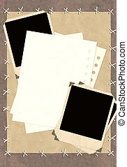 Grunge background with notebook pages and photos