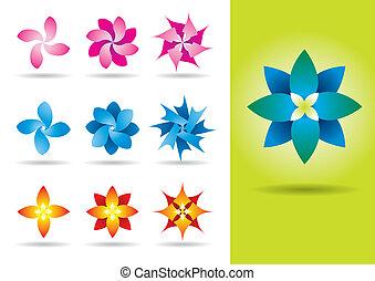 Set of ten vector exotic flowers
