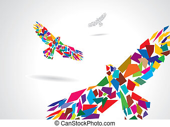 Colorful abstract bird flying - Colorful abstract artistic...