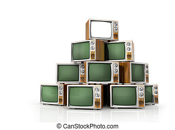 TV concept. Turn on TV on the vertex of heap of turn off...