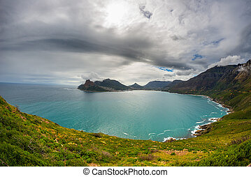 Fisheye ultrawide view of Hout Bay, Cape Town, South Africa,...