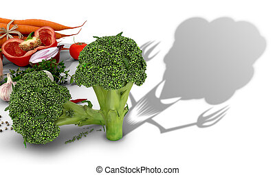 The concept of harm vegetables. Vegetables on a white...