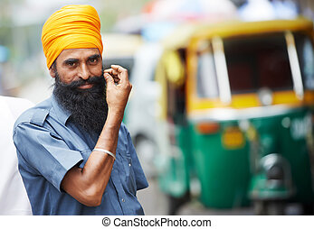 Indian auto rickshaw tut-tuk sikh driver man - Indian auto...